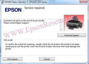 خطای پرینتر R290 پیغام inkpad the end of its service life